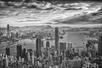 Hong Kong View cityscape in black and white