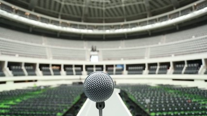 Microphone on top of runway at empty venue before a show