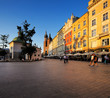 An evening view of the Market Square in Krakow, Poland