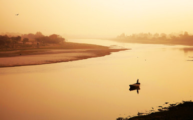 Boat on Yamuna river, near Taj Mahal, India, Asia