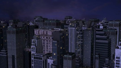 aerial view of a city at night with American skyscrapers