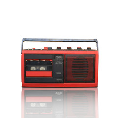 Retro recorder, audio system, collage of music, background