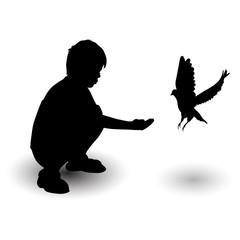 boy feeds pigeon