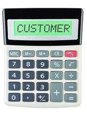 Calculator with CUSTOMER on display isolated on white background