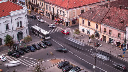 Cluj Napoca, traffic time lapse in 4K no logos