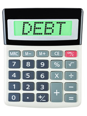 Calculator with Debt on display isolated on white background