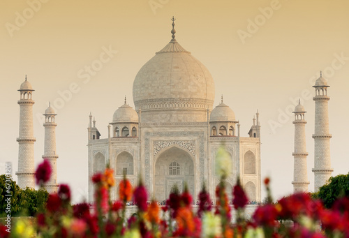 Poster Historisch mon. Taj Mahal in sunset light, Agra, Uttar Pradesh, India