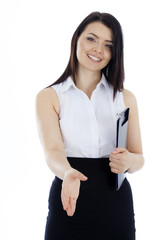 business woman with a folder, holds out his hand to greet.