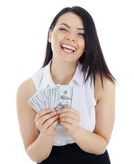 happy business woman with cash in hand