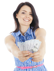 beautiful young woman with cash in hand.