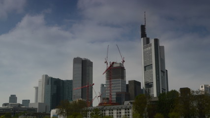 Frankfurt financial district time lapse with construction 4K