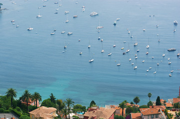 Sea view in Nice, beach panorama with a lot of boats, european l