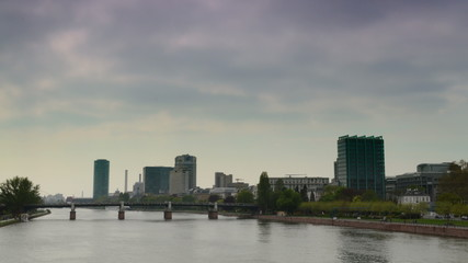 Frankfurt financial district and Main river time lapse  4K