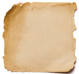 old paper grunge texture, empty yellow page isolated on white