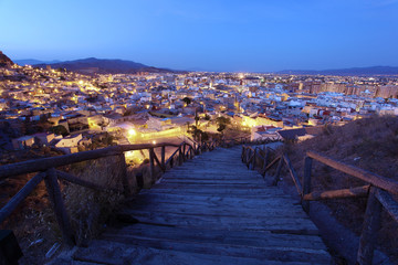 Old town of Lorca at night. Province of Murcia, Spain