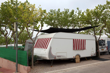 Caravan on a camping site in Spain