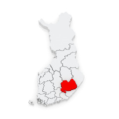 Map of South Savo. Finland.