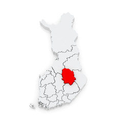 Map of Northern Savo. Finland.