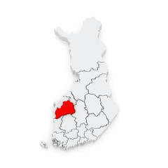 Map of Southern Ostrobothnia. Finland.