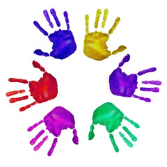 handprints of different colors