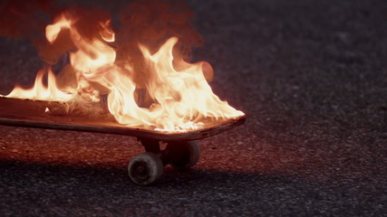 burning skateboard