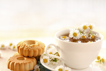 chamomile tea with biscuits