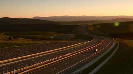 Transylvania Motorway A3 in Romania at sunset time lapse 4k