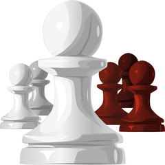 vector of the chess pieces, black and white pawn
