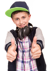 Boy doing thumbs up