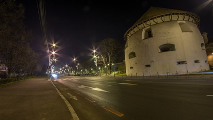 Transylvania Hemannstadt bastion night  traffic time lapse