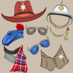 vector set of military and sheriff accessories