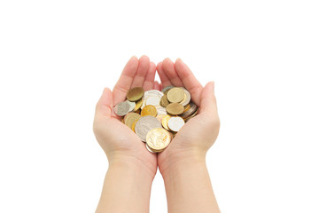 isolated of woman's hands holding coins