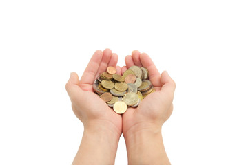 isolated of man's hands holding coins