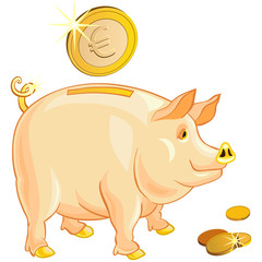 vector pig-piggy bank with gold euro coins