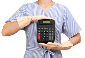 photograph of a bust cleaning lady holding a calculator