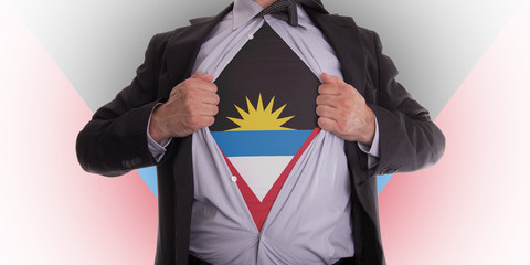 Business man with Antigua and Barbuda flag t-shirt