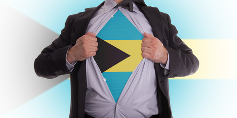 Business man with Bahama flag t-shirt