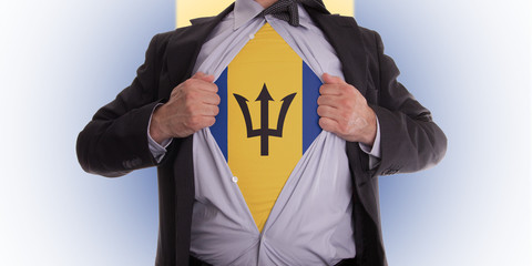 Business man with Barbados flag t-shirt
