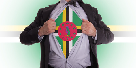 Business man with Dominica flag t-shirt