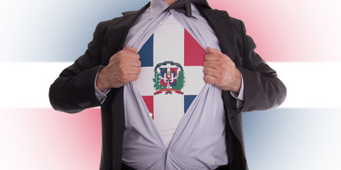 Business man with Dominican Republic flag t-shirt