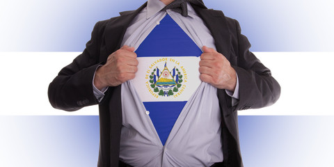 Business man with El Salvador flag t-shirt
