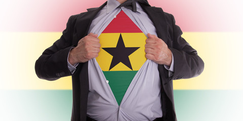 Business man with Ghana flag t-shirt