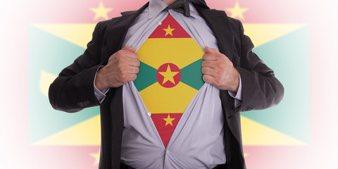 Business man with Grenada flag t-shirt
