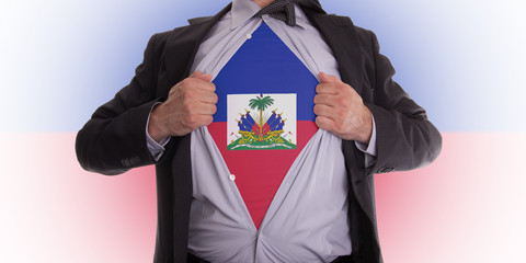 Business man with Haiti flag t-shirt