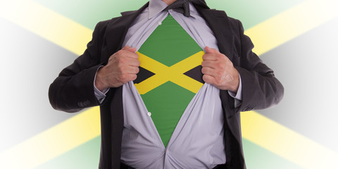 Business man with Jamaica flag t-shirt