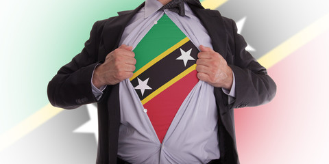 Business man with Saint Kitts and Nevis flag t-shirt