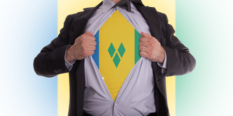 Business man with Saint Vincent and the Grenadines flag t-shirt
