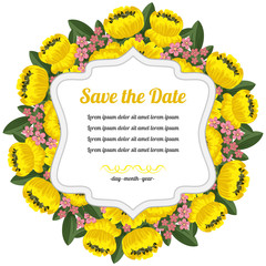 Round retro card with yellow flowers