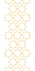 Abstract textile golden suns geometric vertical seamless pattern