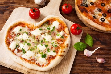 Heart shaped Italian pizza